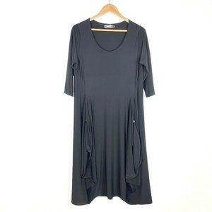 Sympli Gathered Hem Midi Dress Black Lagenlook 12